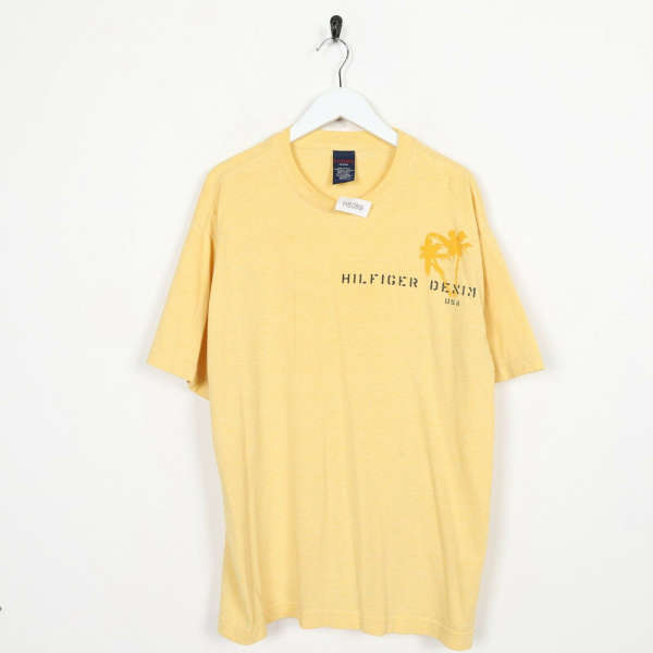Vintage TOMMY HILFIGER Denim Front Logo T Shirt Tee Yellow | Large L