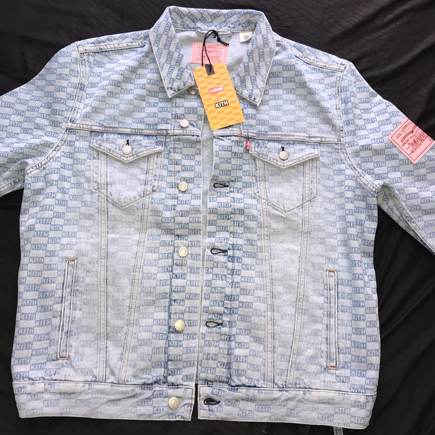 70753103 Kith X Levi's Salt Bleached Aop Trucker Light Blue