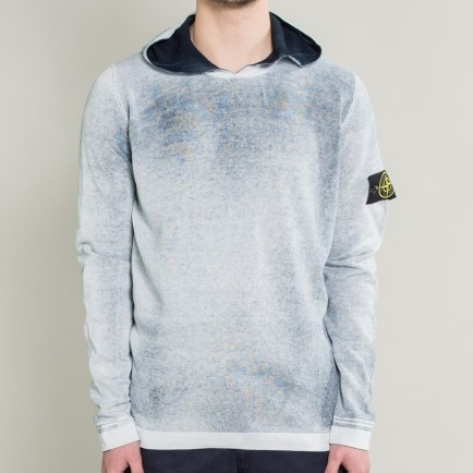 Stone Island off-white/navy reversible hand dyed hoodie UK small RARE Deadstock BNWT