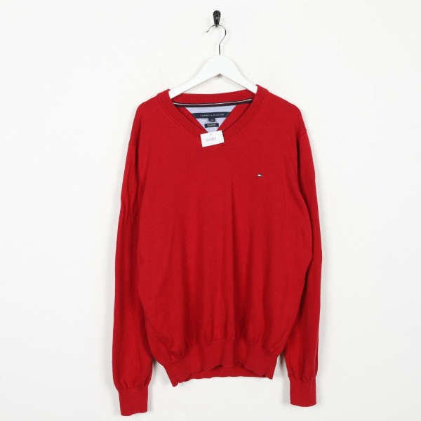 Vintage TOMMY HILFIGER V Neck Knitted Sweatshirt Jumper Red | Large L