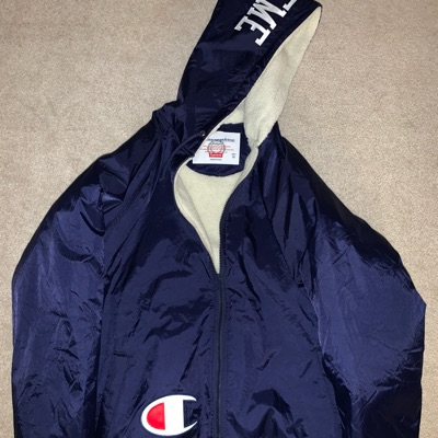 Supreme X Champion Sherpa Lined Hooded Jacket Navy