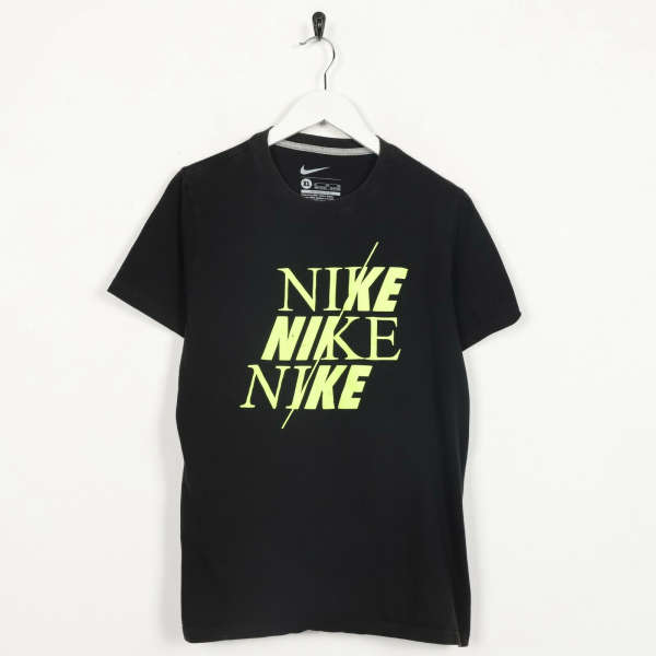 Vintage NIKE Big Graphic Logo T Shirt Tee Black Small S