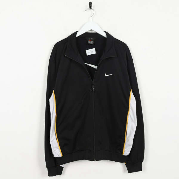Vintage 90s NIKE Big Swoosh Logo Tracksuit Top Jacket Black Grey Medium M