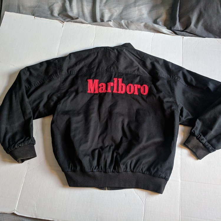 ab10650e2 Vintage 90s Marlboro Reversible Men's Black/Red Bomber Jacket size Large