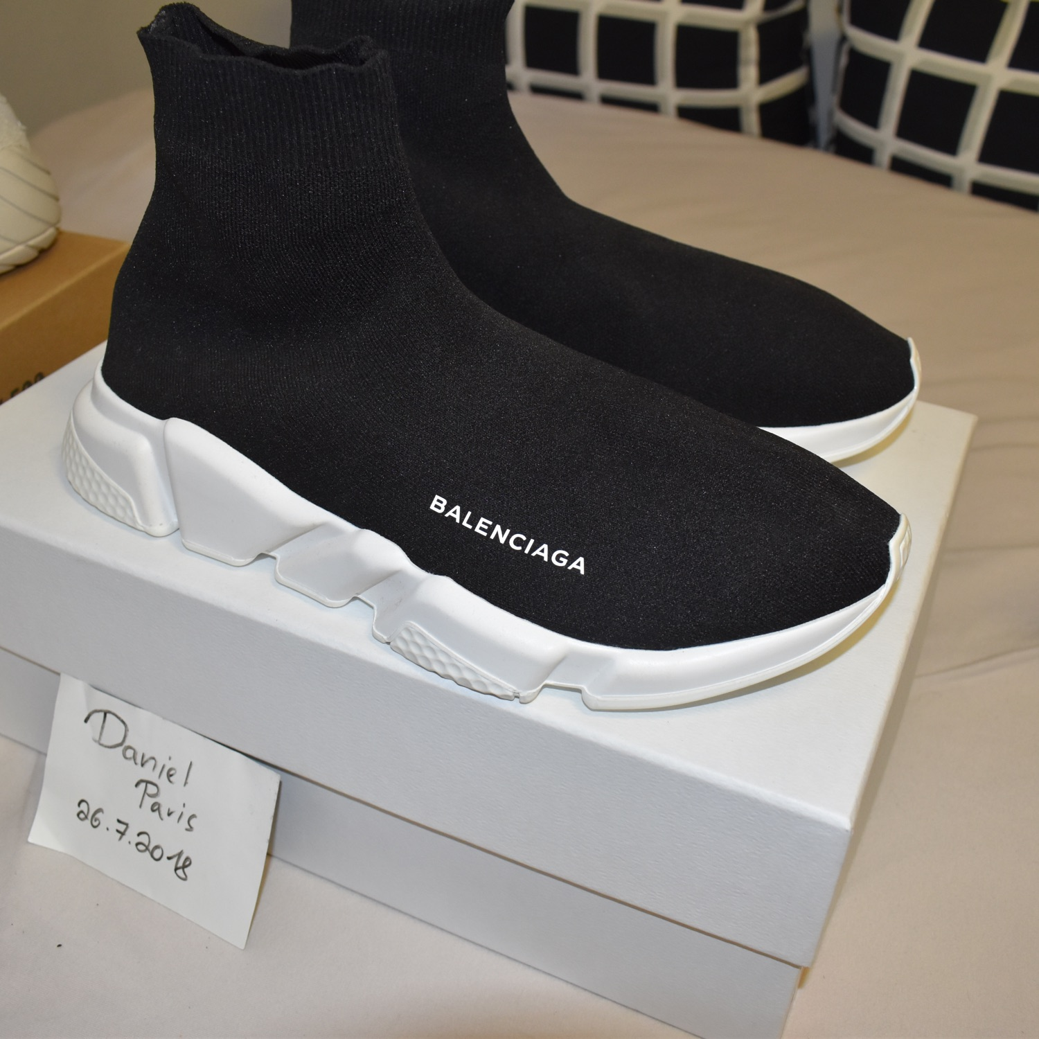 Balenciaga Speed Knit Trainers Sweetheart Shoes Black