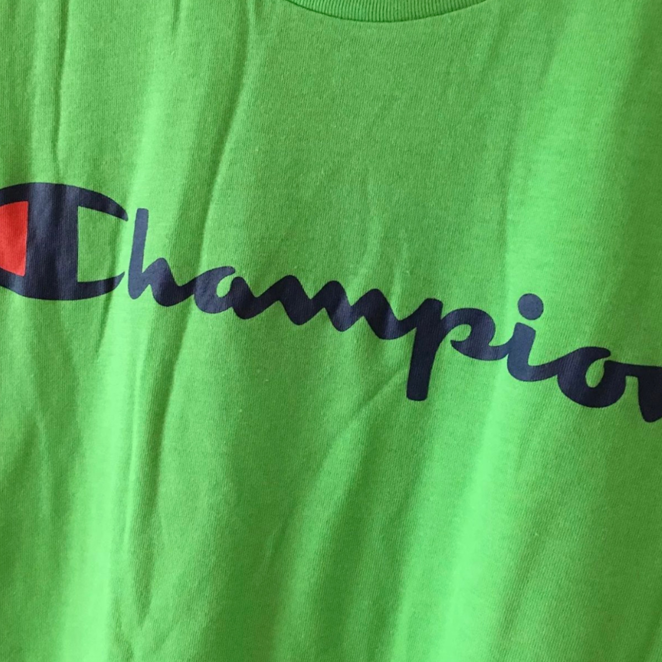 Champion Green Spell Out Logo T Shirt