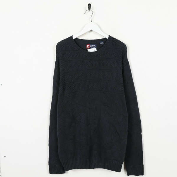 Vintage CHAPS Small Logo Knitted Sweatshirt Faded Black | Large L