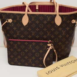 Brand New 2015- Louis Vuitton Neverfull MM in Monogram with Pivoine lining