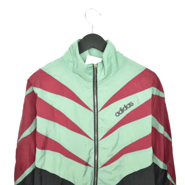 Vintage Adidas zip up tracksuit track jacket trackie sweater jumper sweatshirt pullover long sleeve in black red and green