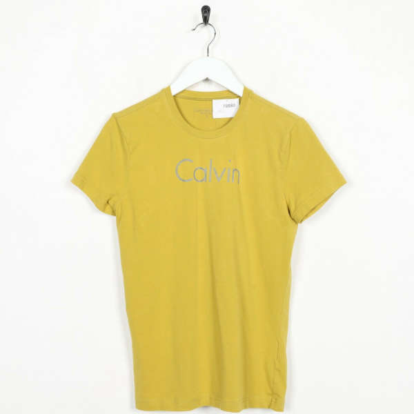 Vintage CALVIN KLEIN JEANS Big Logo T Shirt Tee Yellow | Small S