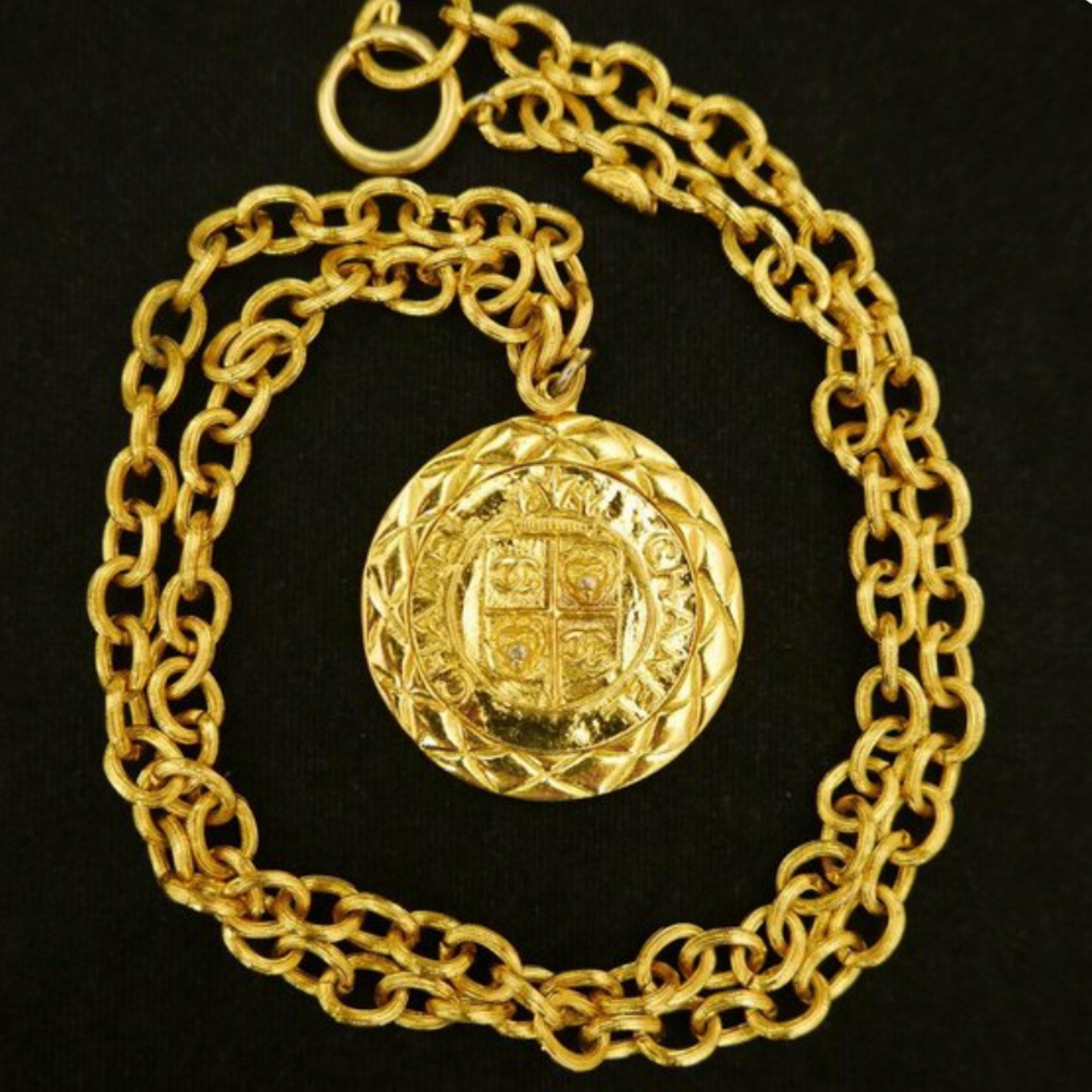 Chanel Gold Plated Quilted Medallion