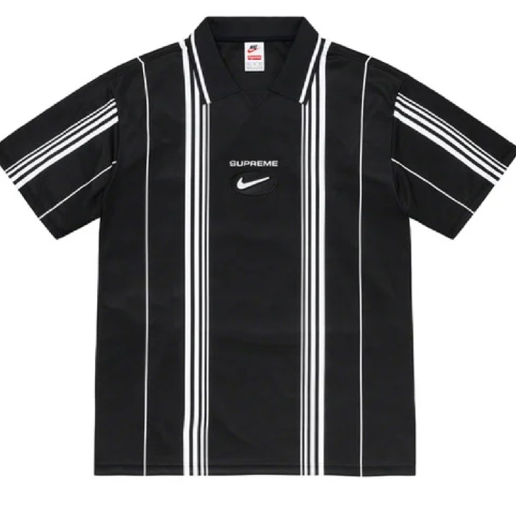 Supreme/Nike Jewel Stripe Soccer Jersey Black/White