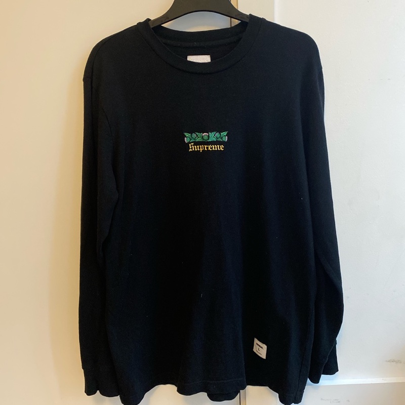 Supreme Embroidered Long Sleeve Black Tee