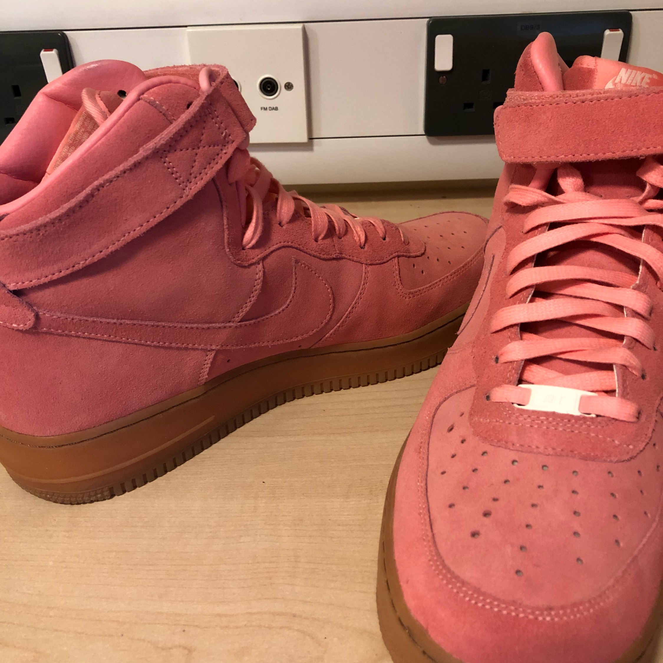 red high top nike air force ones
