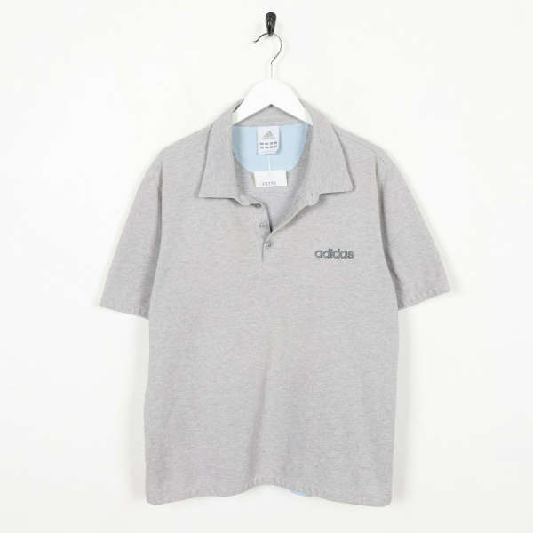 Vintage ADIDAS Front Logo Polo Shirt Top Grey | Large L