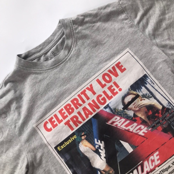 Palace Celebrity Love Triangle T Shirt Grey Small