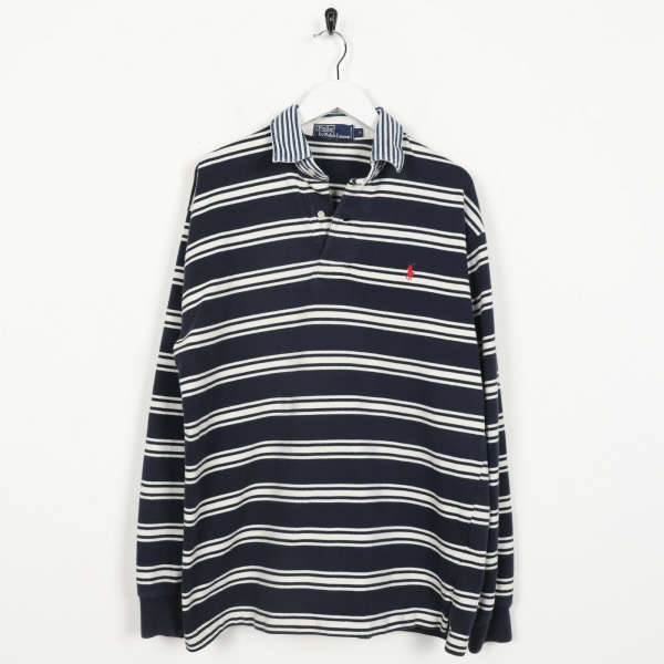 Vintage RALPH LAUREN Small Logo Striped Collared Sweatshirt Jumper | Small S