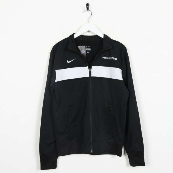 Vintage NIKE Big Back Logo Tracksuit Top Jacket Black | Small S