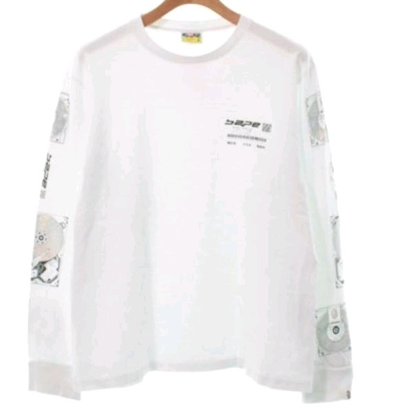 Bape Long Sleeve White Logo Letter Front Sleeves Print
