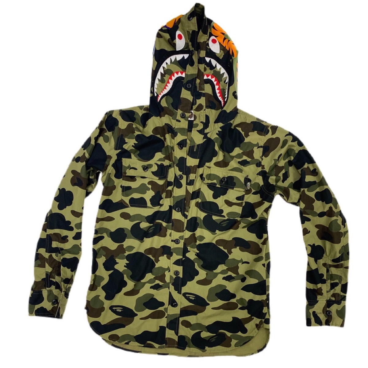Bape shark green camo overshirt jacket