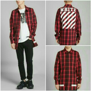 Off White red diagonals flannel