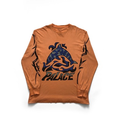 Palace Sketchy Dolphin Ls Tee Orange Size Small