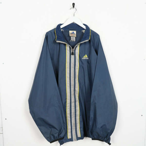 Vintage 90s ADIDAS Small Logo Soft Shell Windbreaker Jacket Blue | 2XL