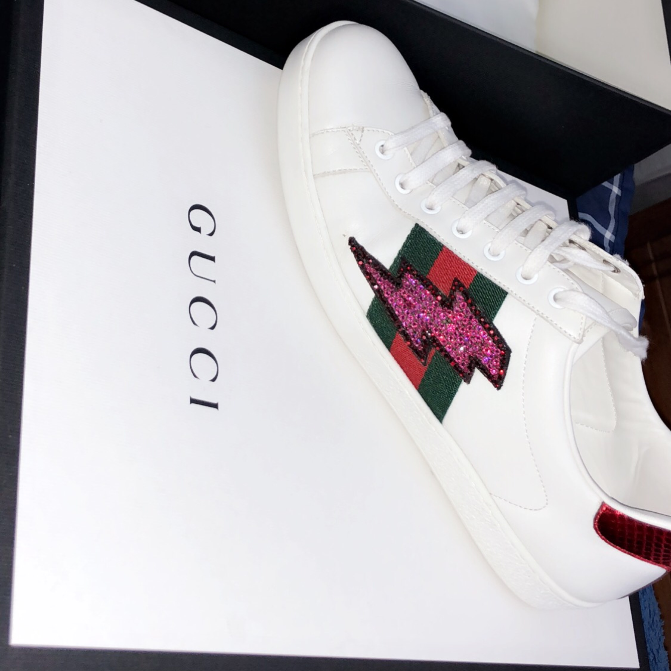 9d8a969b66fe4 Gucci Ace Lightning Bolt Sneakers