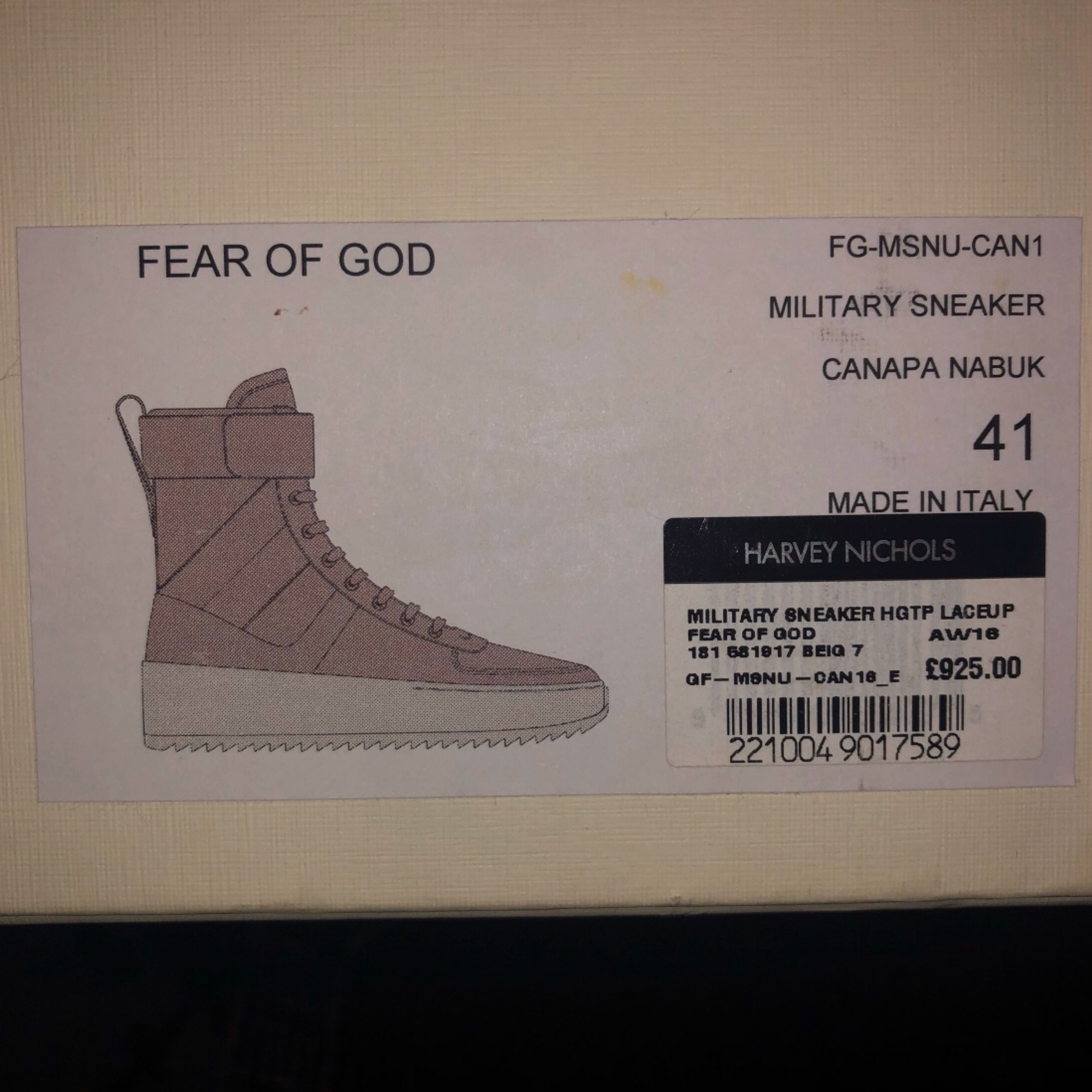 Fear Of God Military Boots Canapa Size 41