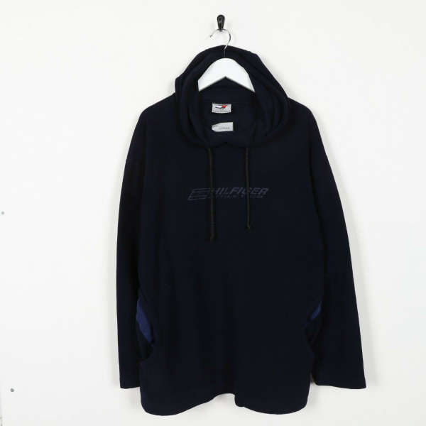 Vintage TOMMY HILFIGER Athletics Spell Out Hooded Fleece Top Navy Blue Small S