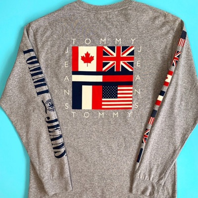 Grey Tommy Jeans Long Sleeve T Shirt