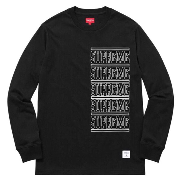 Supreme Stacked L/S Top Black Tee Large