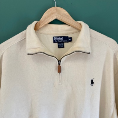 Vintage Cream Ralph Lauren Half Zip Jumper