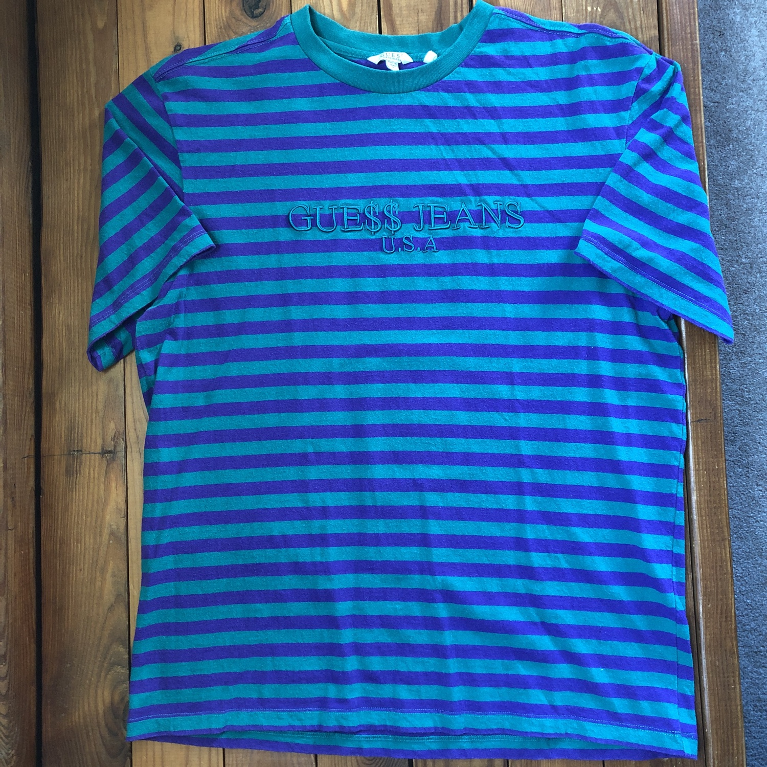Og Release Guess X Asap Purple Green Striped Tee
