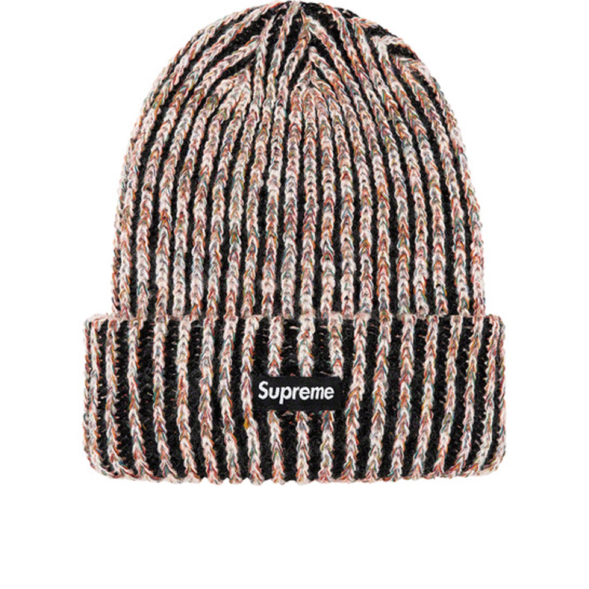 Supreme Rainbow Knit Loose Gauge Beanie Black