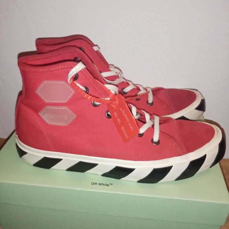 Off White Vulcanized High Top Red