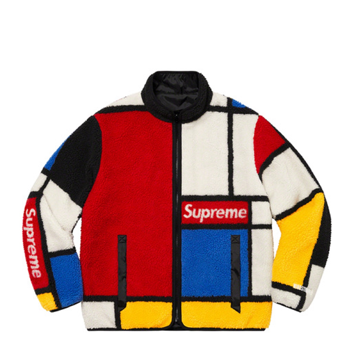 Supreme Reversible Colorblocked Fleece Jacket Red