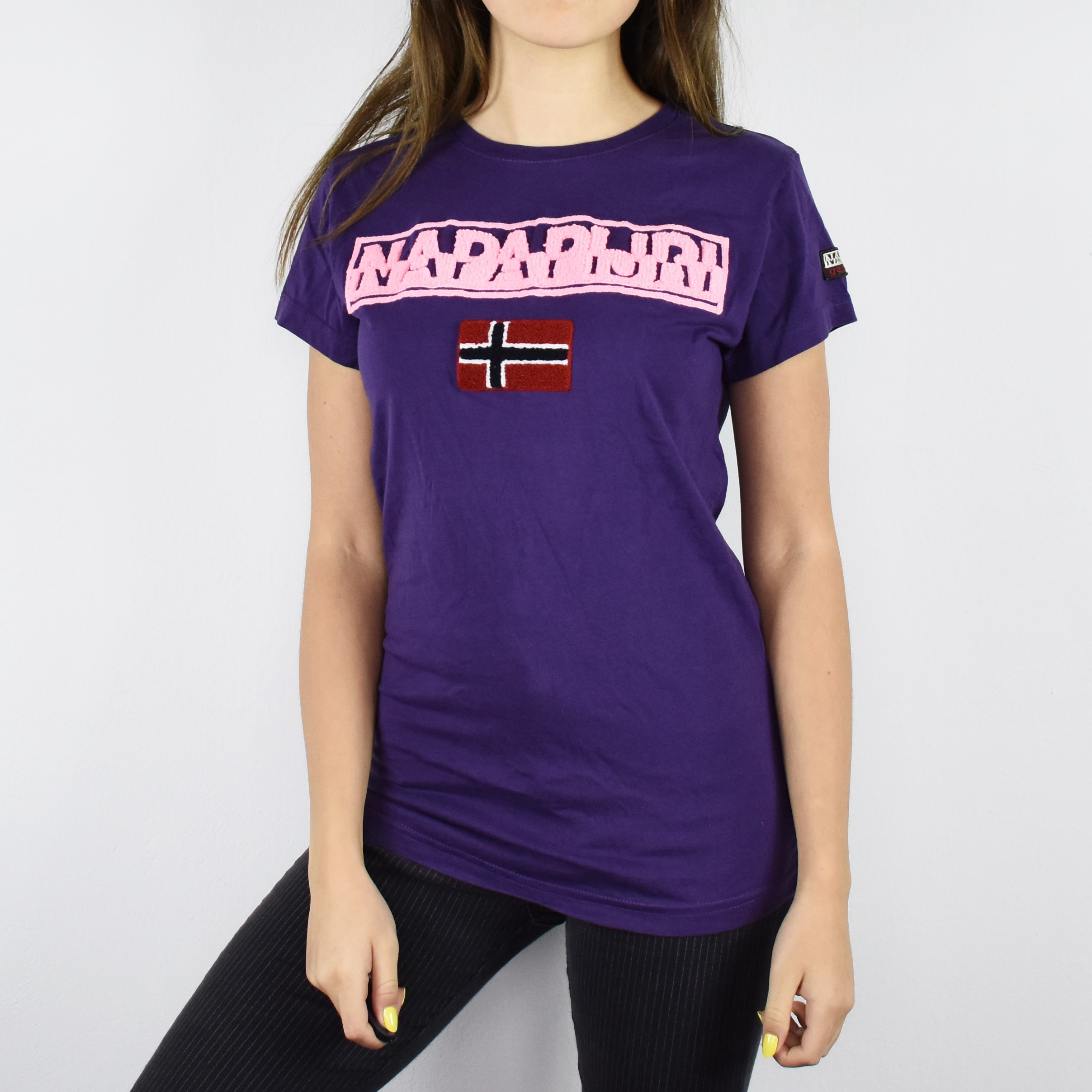 Vintage Napapijri shirt tee blouse top in purple and pink spellout