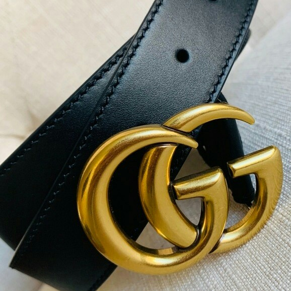 Used Belt Double GG Black Gold