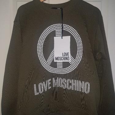 BRAND NEW Love Moschino Green Studded Peace Logo Sweater/Jumper RRP £205