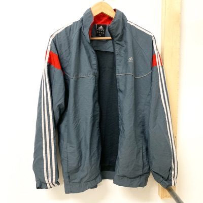 Grey And Red Adidas Track Jacket Vintage