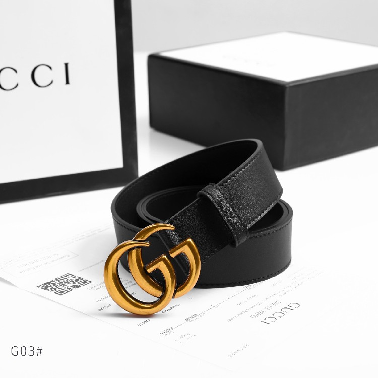 cd619e2274 GUCCI Leather Belt With Double G Buckle