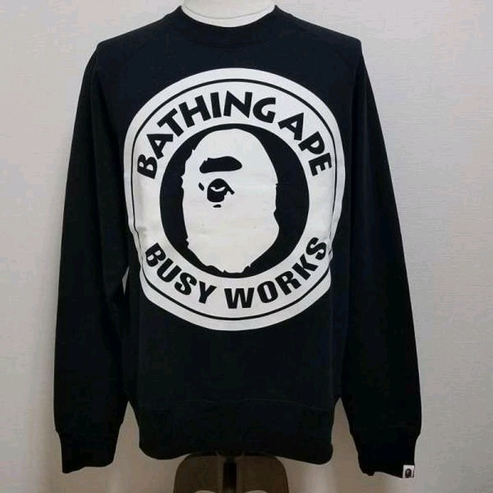 Bape Sweatshirts Black Big Monkey Face Circle Print