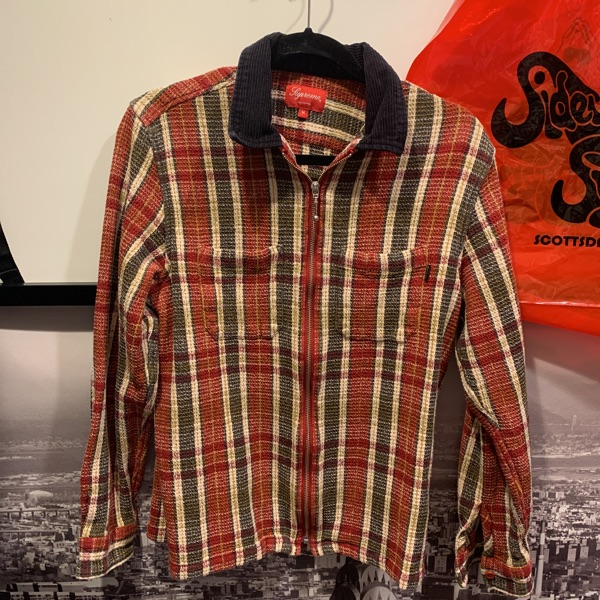 Supreme Plaid Thermal Zip Up Shirt Dusty Red