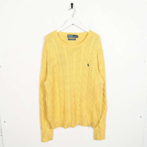 Vintage RALPH LAUREN Small Logo Knitted Sweatshirt Jumper Yellow | Large L