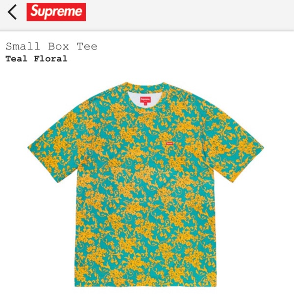 Supreme Small Box Logo Floral Tee Teal