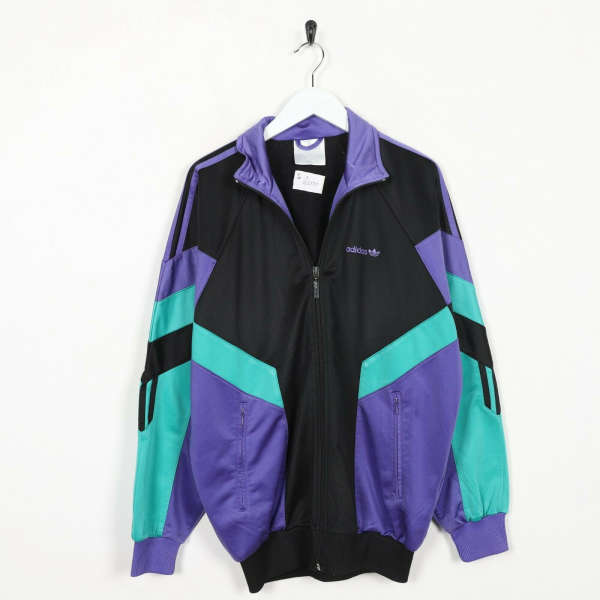Vintage 80s ADIDAS Colour Block Tracksuit Top Jacket Black Purple Small S