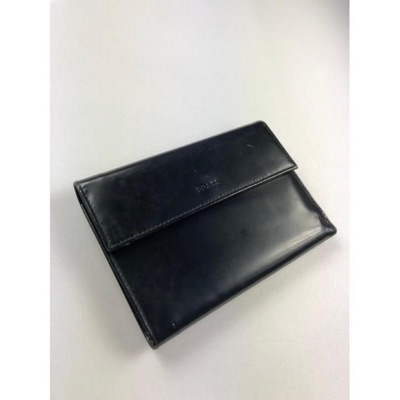 Prada Black Leather Trifold Long Wallet