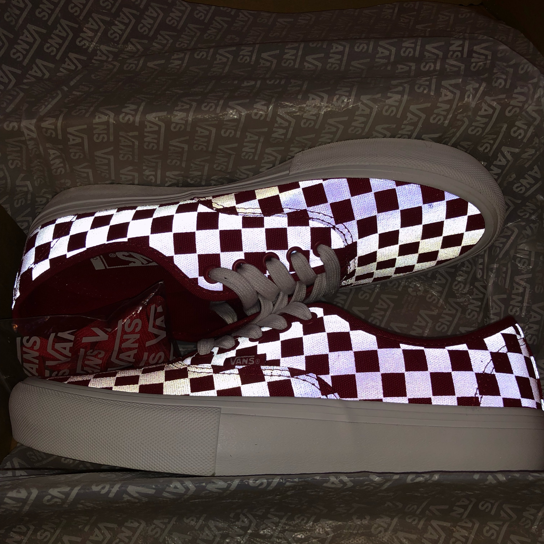 Red Checkered Reflective Ultracush Vans