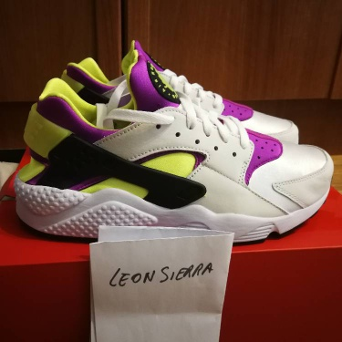 Nike Air Huarache Run '91 QS White/Black - Neon Yellow Magenta